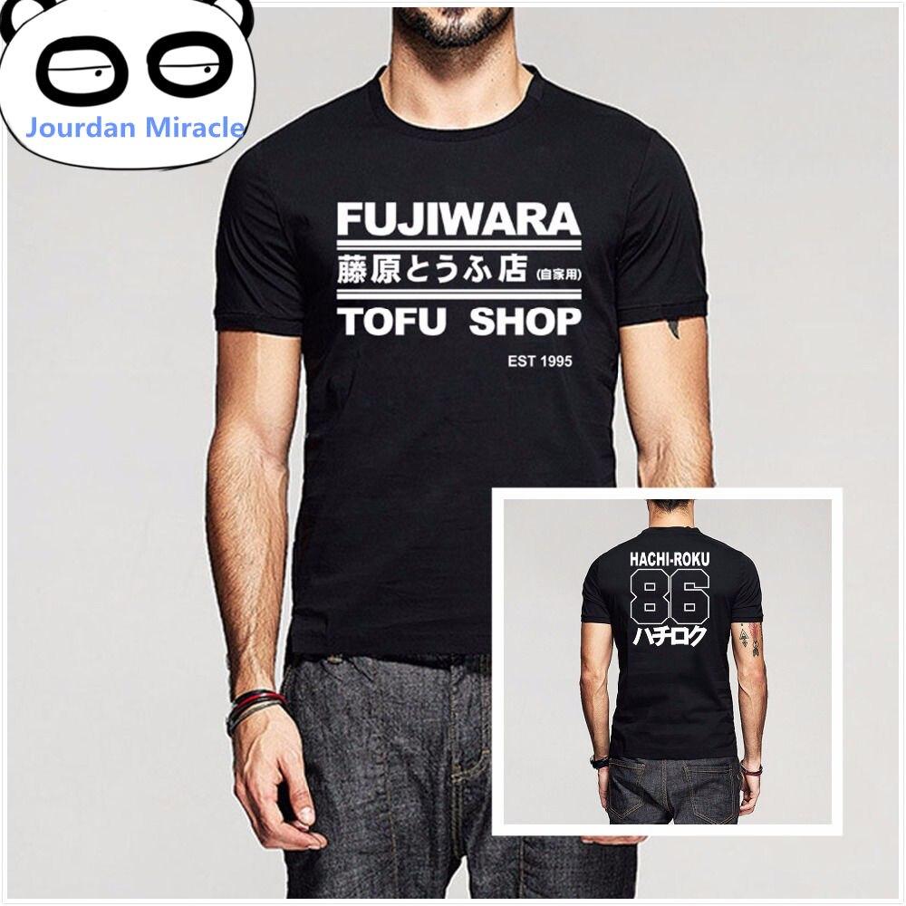 이니셜 D 만화 하치 로쿠 시프트 드리프트 남성 T 셔츠 후지와라 타쿠미 두부 샵 배송 AE86 티셔츠 남성 브랜드 의류 티셔츠