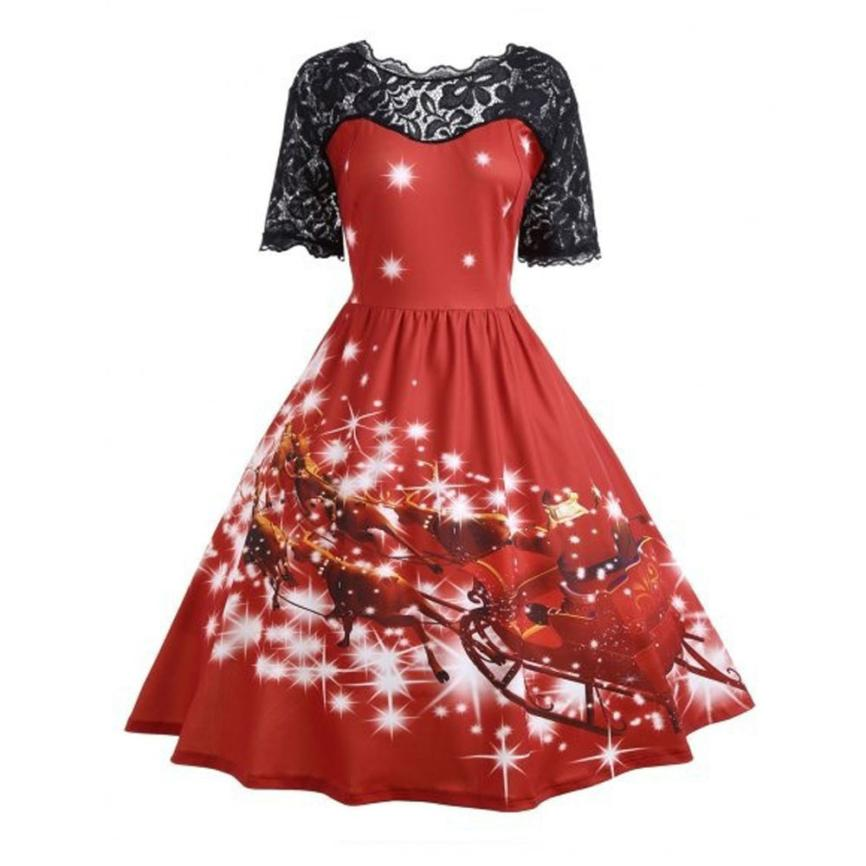 snowshine #5003 Womens Christmas Party Dress Ladies Vintage Xmas Swing Lace Dress