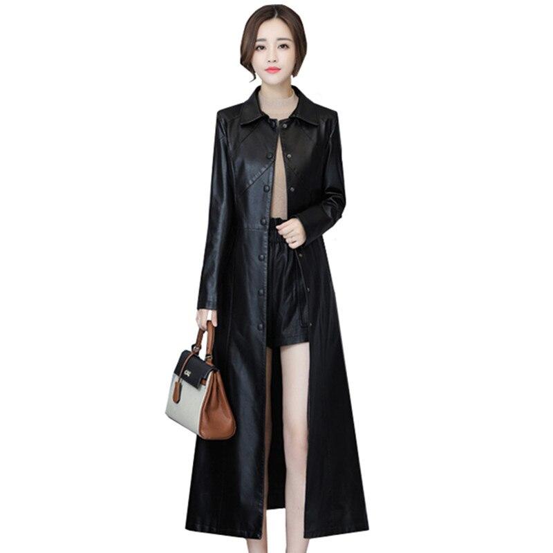 2019 spring autumn   leather   coats women's long lapels slim Bomber   leather   windbreaker jacket plus size over the knee fashion coat