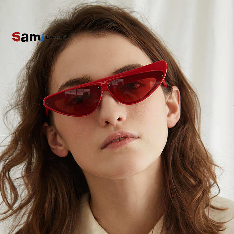 Samjune Asymmetric <font><b>Cat</b></font> <font><b>Eye</b></font> <font><b>Sunglasses</b></font> <font><b>Women</b></font> Triangle <font><b>Sexy</b></font> Small CCSPACE <font><b>Brand</b></font> Glasses <font><b>Designer</b></font> Fashion Vintage Female Shades image