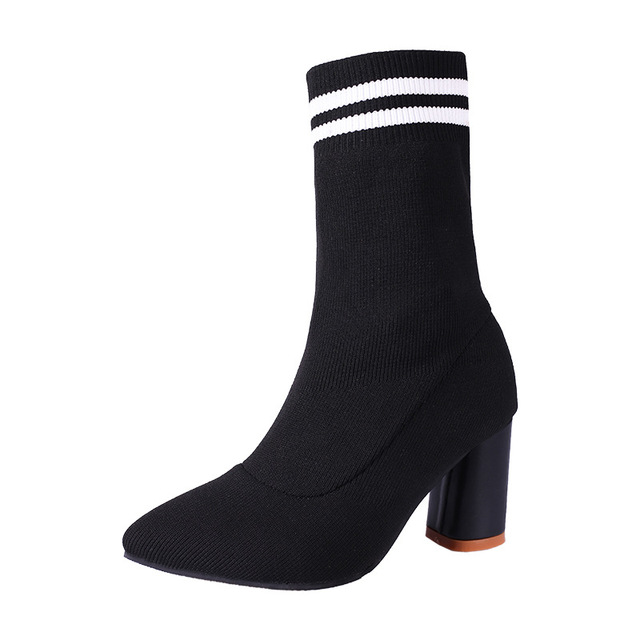 Women's Suede Knitted Shoes in Fashion Mid-Calf Block Boot Black