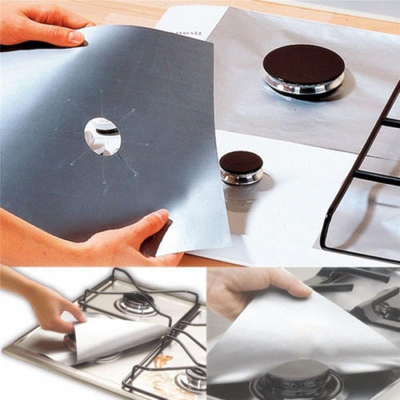 Stove Protector Cover Liner Non Stick Aluminum Foil Dishwasher Safe Protective Foil Kitchen Accessories in Disposable Cookware from Home Garden