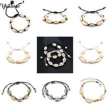 Yiustar Boho Women Necklace Sea Shell Choker Black Rope Chain Beach Bracelets Girls Elegant Simple Ocean Jewelry Gifts