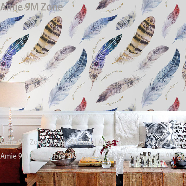 Tuya Art White Background Blue Dancing Feathers Pattern Mural Wallpaper For  Living Room Wall Decor Free