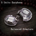DT86 Earphone 5 Units Balanced Armature Bar Drivers HIFI Customized With Original for Shure SE535 High Quality MMCX Cable
