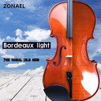 ZONAEL Beginner Solid Wood Violin 4 4 3 4 1 4 1 8 Craft Stripe Violino
