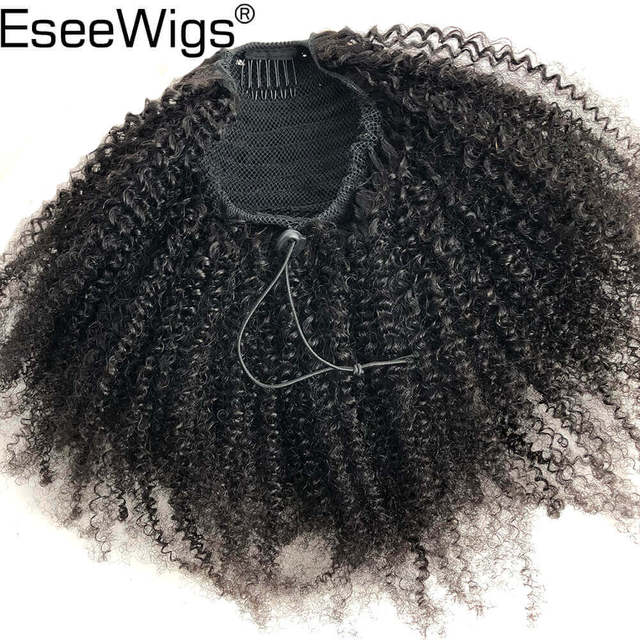 Eseewigs Afro rizado Cola de Caballo para mujeres Color Natural Remy cabello 1 pieza Clip en cola de caballo cordón brasileño cabello humano