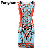 Fenghua Summer Dress Women 2017 Sleeveless Floral Print Elegant Sexy Party Dresses Pencil Bodycon Office Dress