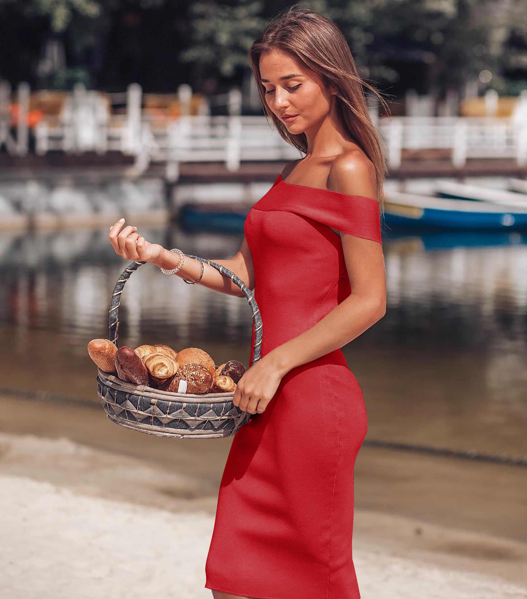 Без бретелек сексуальное платье с открытыми плечами летнее женское черное красное базовое облегающее платье без бретелек эластичное Бандажное платье Femme 2019