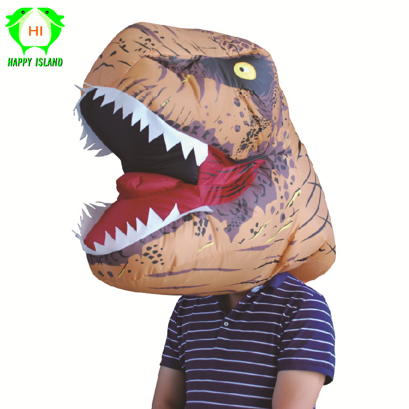 T REX Dinosaur Inflatable Costumes Hood For Man Jurassic World Park T-Rex Dinosaur Cosplay Masks Halloween Party Mask for Adult