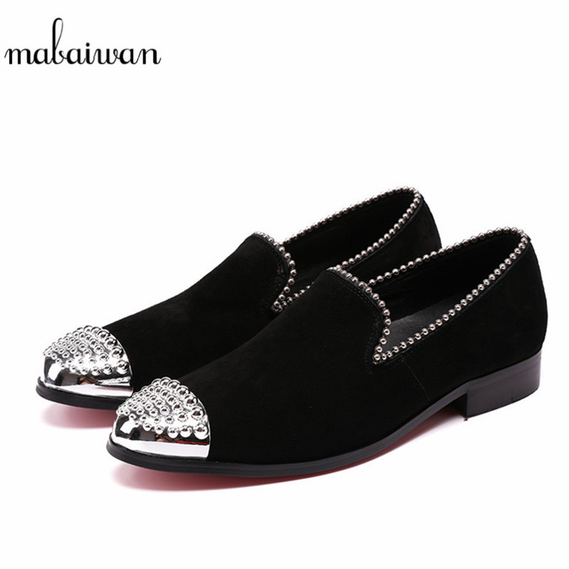 Mabaiwan New Men Shoes Black Suede Slippers Party Wedding Dress Casual Shoes  Men Silver Metal Toe 4d8609be29fb