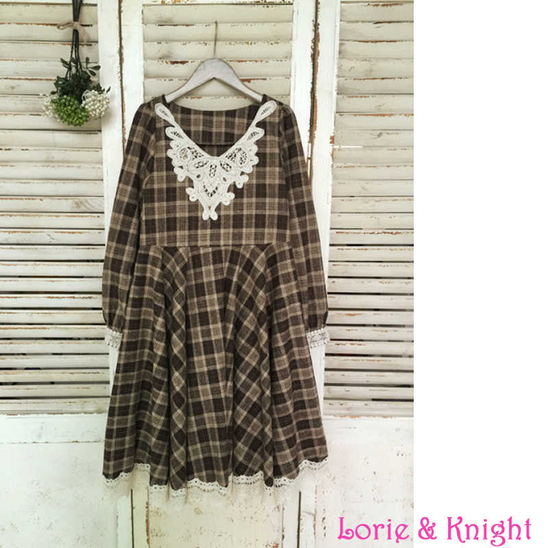 b9140ddb0521a Japanese Style Mori Girl Woolen Blend Plaid Spring Dress Lace Trim Ruffles  Lolita Maxi Pleated Dress