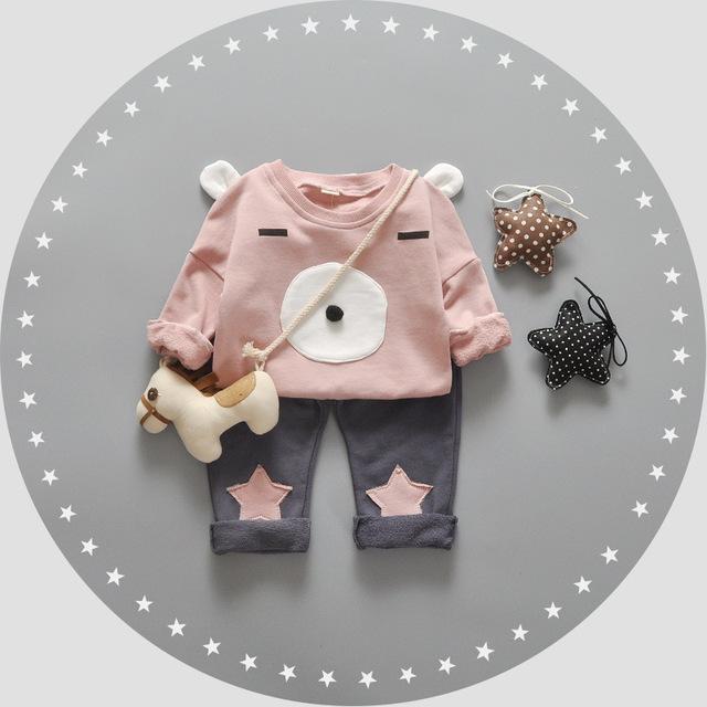 2016 Do Bebê Roupas de Menina Dos Desenhos Animados 3D do Urso Bonito Roupa Infantil Menina 2 pcs Define Newborn Enxoval Miúdo Crianças Manga Longa T camisas