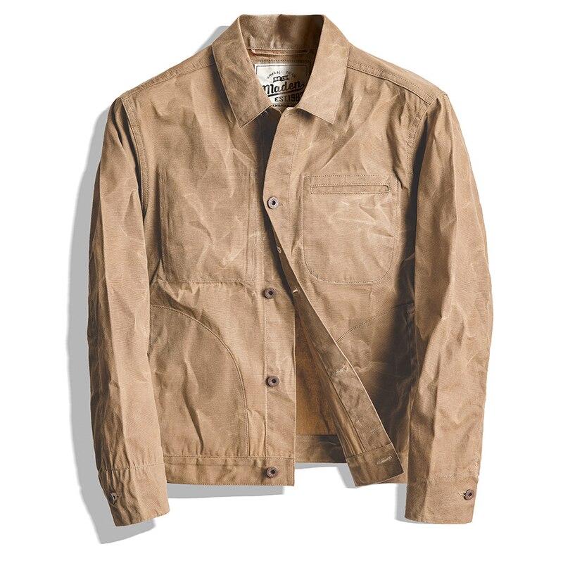Распродажа мужской пиджак высокого качества и пальто инструмент американский Ретро тяжелое масло воск холст хаки куртка классический двой...