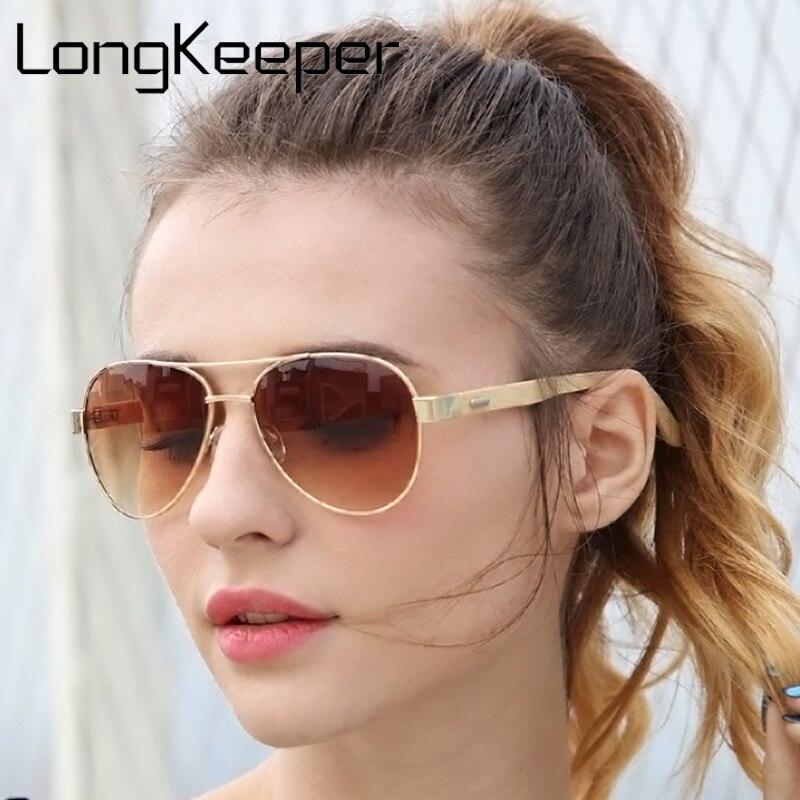 Longkeeper Klasik 2018 Bambu Kacamata Hitam Pria Wanita Kayu Bambu Kacamata  Emas Cermin Logam Gafas De ded24e3730