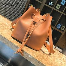 Drawstring Crossbody Bag for Women Bucket Messenger Bags Famous Brands Brown Lady's Shoulder Bag Women's PU Leather Handbags