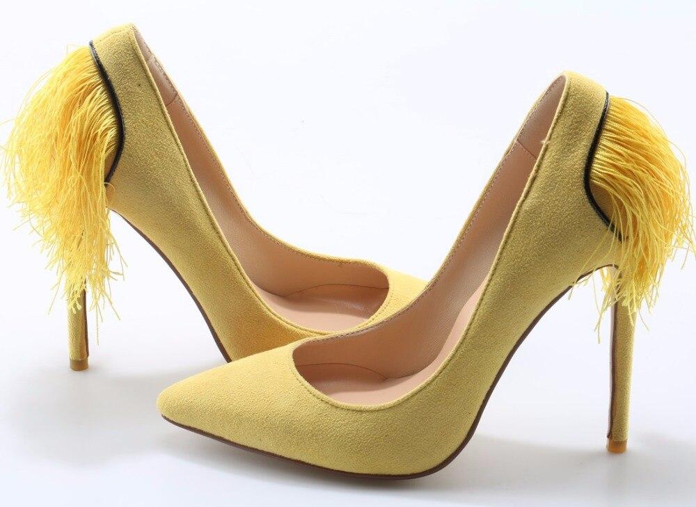 Cuir Vente Faux Retour En Stiletto Couleur Dames Bout Gland 2018 Pompes Femmes Jaune Mode Yellow Haut Chaude De Partie Pointu Sexy Suede Talons qXfwEfdx