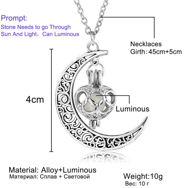 Moon Glowing Gem Charm Silver Plated Necklace