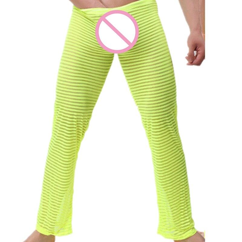 Men's Sexy Fashion Transparent Lounge Pants Striped Pajamas Trousers Full Length Sleep Bottoms Night Leisure Sleepwear