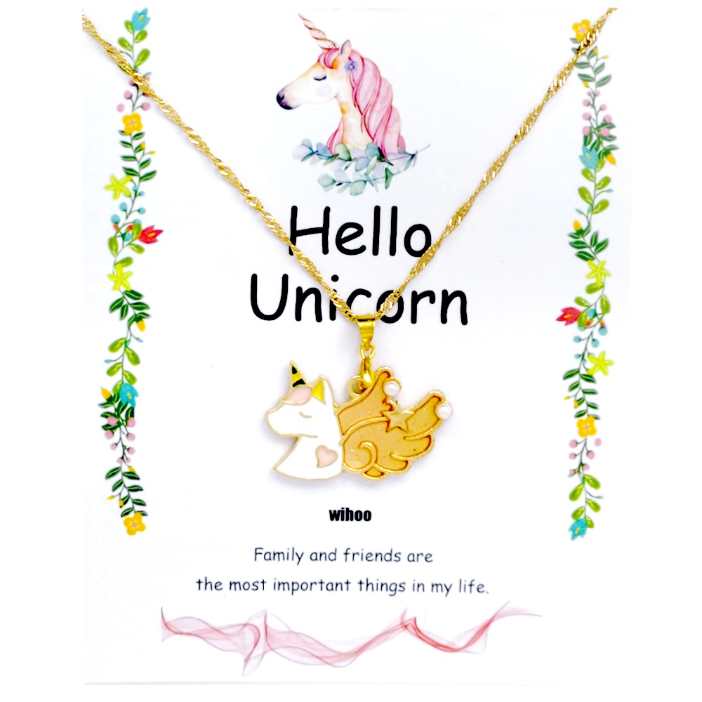 Unicorn Necklace Card Pendant Wihoo Horse Women Pendant Children Girls Cute Fashion Jewelry Gift Kids Enamel Party Gold 2