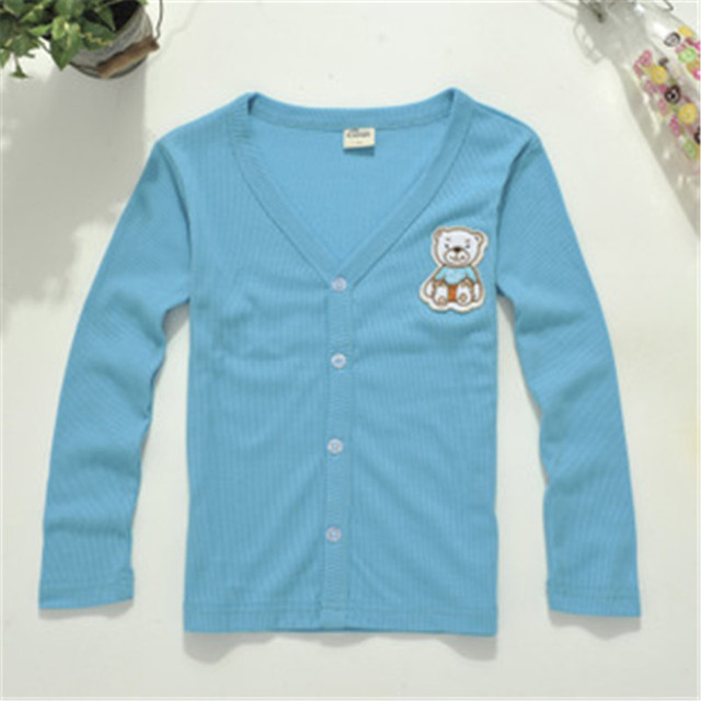 Kids Solid Leisure T-Shirts for Boys & Girls Wear Knitted with Button Design Fashion Cardigan, Free Shipping K0108