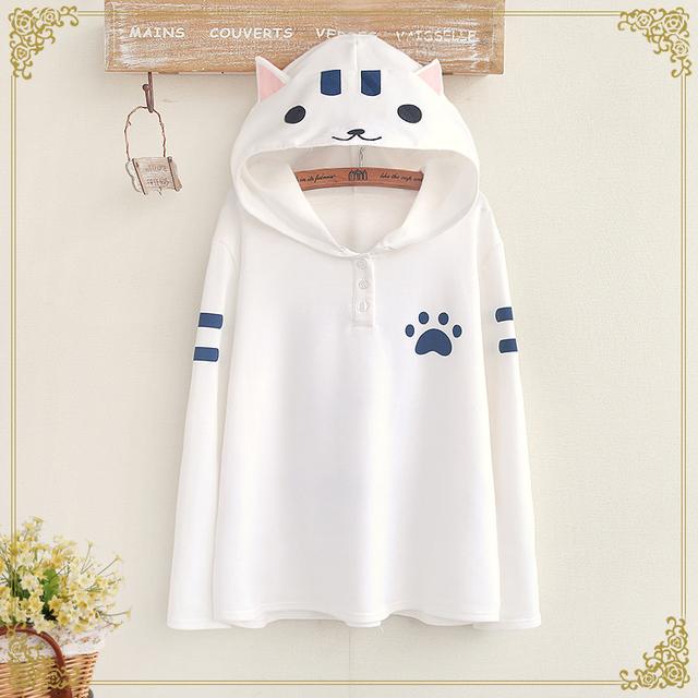 2016 New Real Apliques Regular Algodón Patrón Unicornio Tops Japonés Lindo Para Gato Con Capucha T-shirt Alumna Pelaje de Verano Sen