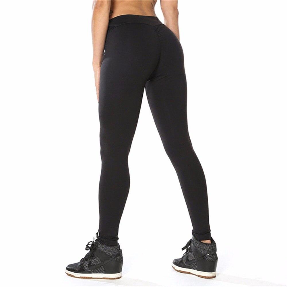 2018 Сексуальная Bodycon Для женщин Леггинсы для женщин Push Up тренажерные залы Брюки для девочек тренировки Высокая талия черный Фитнес спортивны...