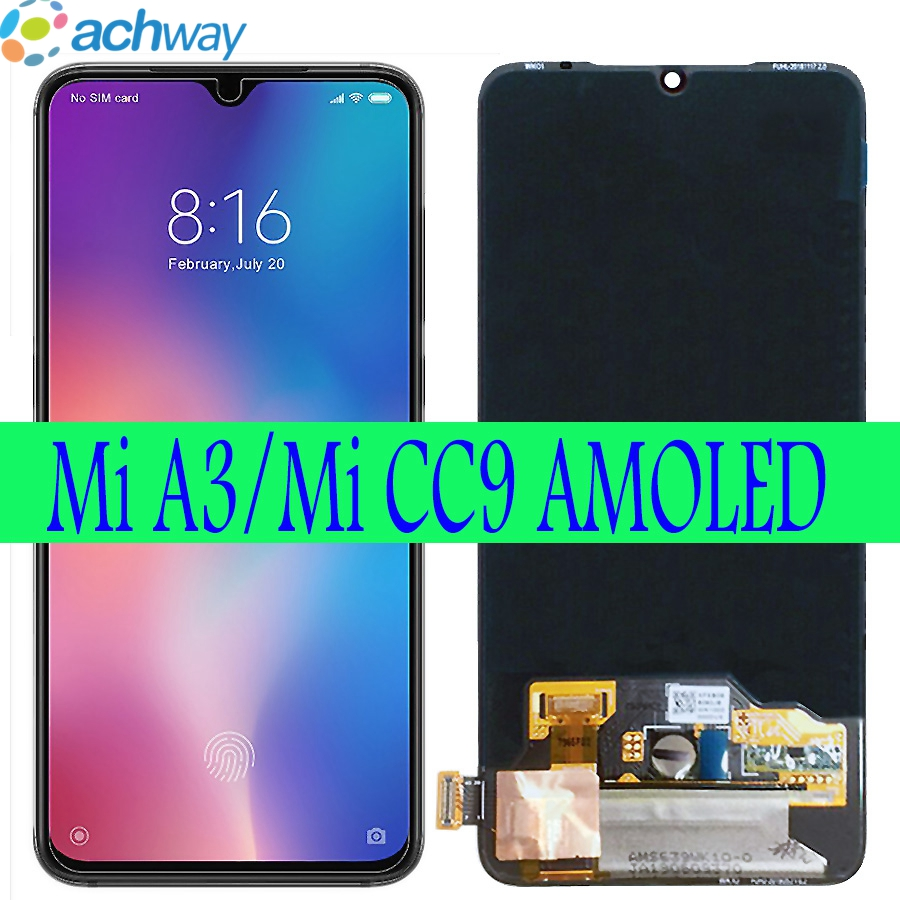 Super AMOLED For Xiaomi Mi A3 CC9 LCD Mi CC9E Display Touch Screen Digitizer Assembly Replacements Parts For Xiaomi Mi A3 LCD