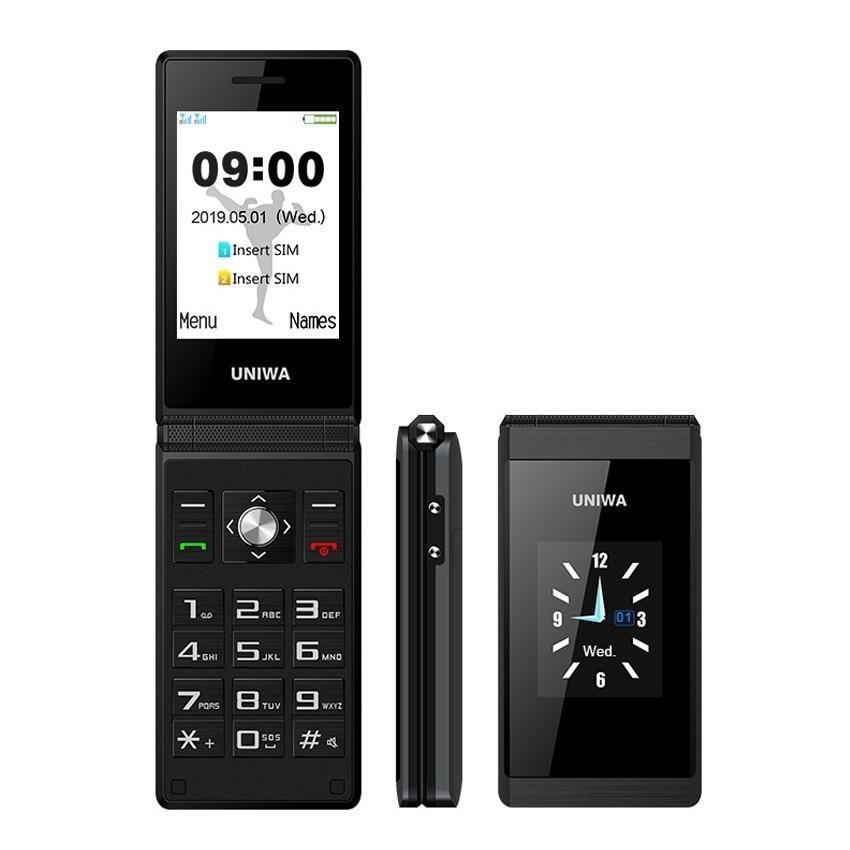 UNIWA X28 Flip téléphone portable 2.8 pouces clavier russe double affichage téléphones Bluetooth FM double SIM téléphone Mobile bouton-poussoir téléphone