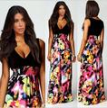 2015 Hot Sale Pretty Girls Fashion Printing Dress For Women Summer Style Plus Size Breathable Long Dress Vestido Renda