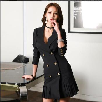 Women Blazers Dresses Spring Double Breasted Long Sleeve Sexy V-Neck Pleated Dress Office Lady  Basic Vestidos White Black Z990 Top