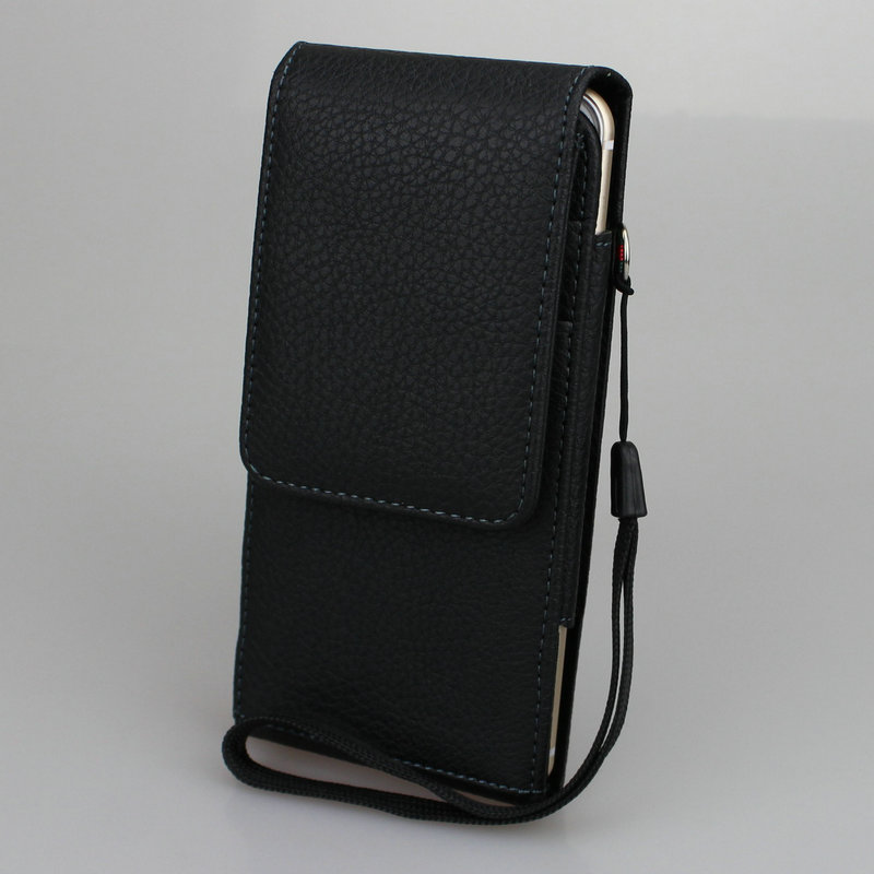 Multiple phone models 4.7 to 6.3 inch Vertical <font><b>Belt</b></font> Clip Holster PU Leather Pouch <font><b>Case</b></font> Magnetic Snap with Card slot Wrist Rope image