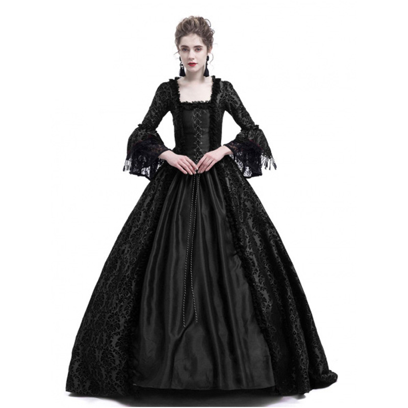 Black Masked Ball Gothic Victorian Costume Dress Ball Gown Pleated Dotted Lace Gown Civil War Costume Renaissance Dress Dress