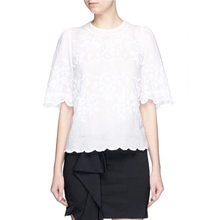 2016 New Fashion Women IM White Rumba Embroidered Loose cropped Top Short Sleeved Round Neck Shirts