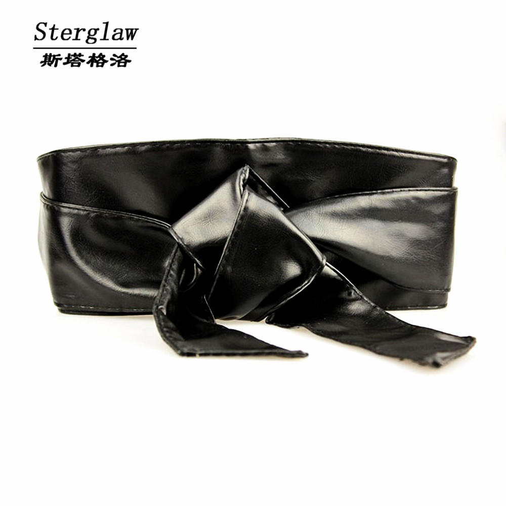 Corset Fashion New Fajas Leather Bow Wide Belt For Women Dress Cummerbund Ceinture Femme 2020 Casual Female Sterglaw N005