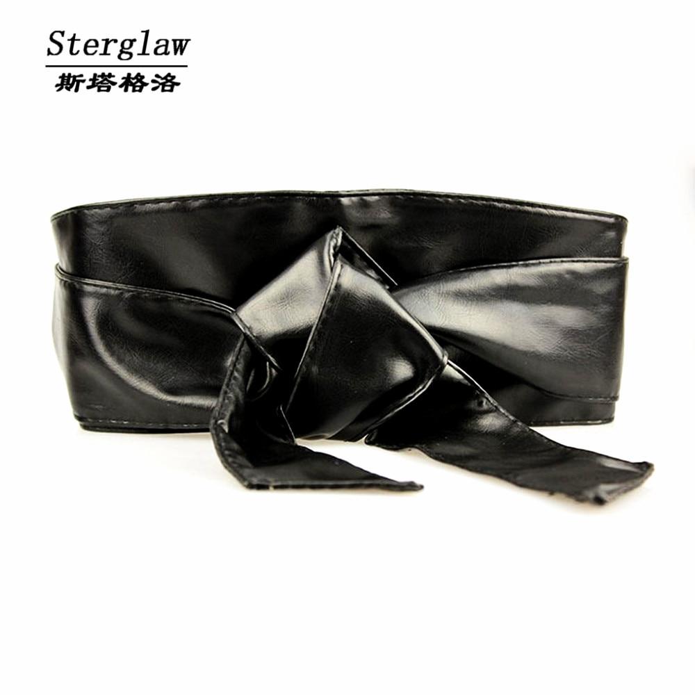 Corset Fashion New Fajas Leather Bow Wide Belt For Women Dress Cummerbund Ceinture Femme 2020 Casual Female Sterglaw N005