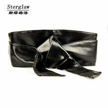 Corset Fashion New Fajas Leather Bow Wide Belt For Women Dress Cummerbu