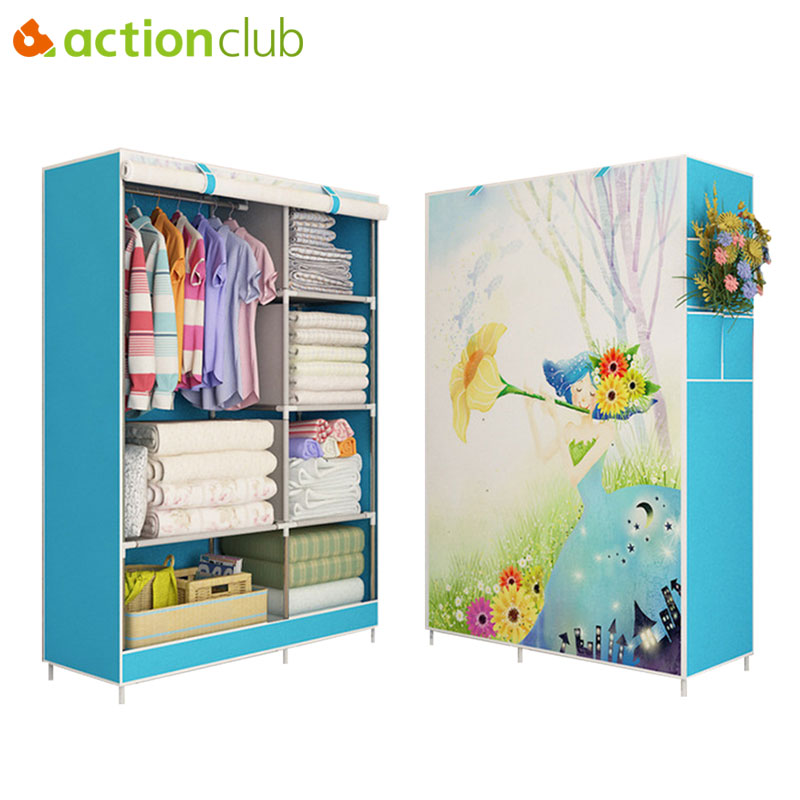 Actionclub Cloth Wardrobe Thick Reinforcement Pipe Folding Dustproof Wardrobe Multifunction Wardrobe Closet Bedroom Furniture actionclub fabric oxford cloth wardrobe closet diy assembly multifunction large wardrobe folding portable cabinet home furniture