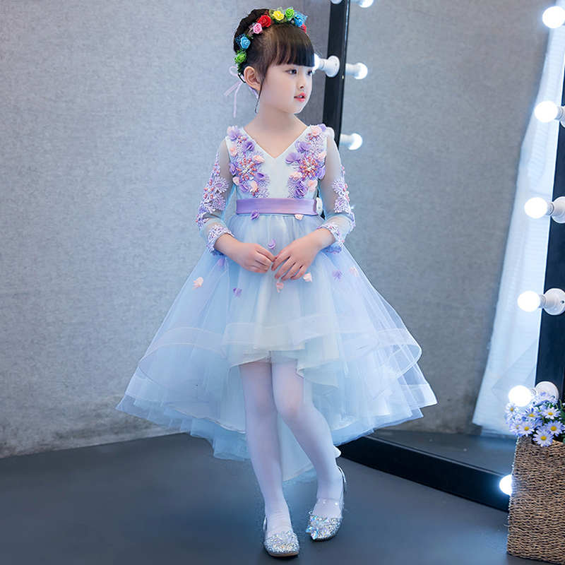 839bf9541 2019New Blue Color Children Girls Flowers Princess Party Dress Kids ...
