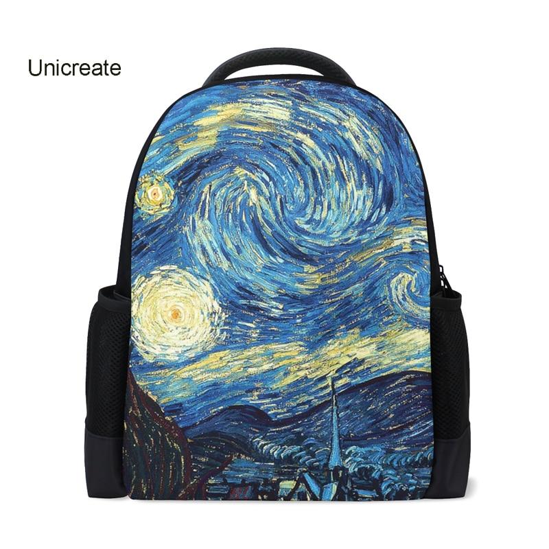 Van Gogh Starry Night Printing Backpacks Women 2018 New Fashion School Bags For Teenager Girls Canvas Rucksack Female DayPacks