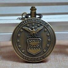 c76525b6646 United States Air Force USAF de Bronze Retro Do Vintage Colar de Pingente  de Relógio de Bolso de Quartzo Analógico Mens Womens P..