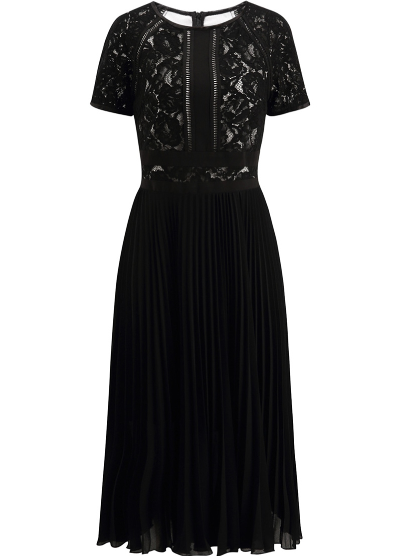 Patchwork Plissées De Dentelle Dresses Robes Noir 5308 Robe Pleated Femmes Mode 0Oqa6X