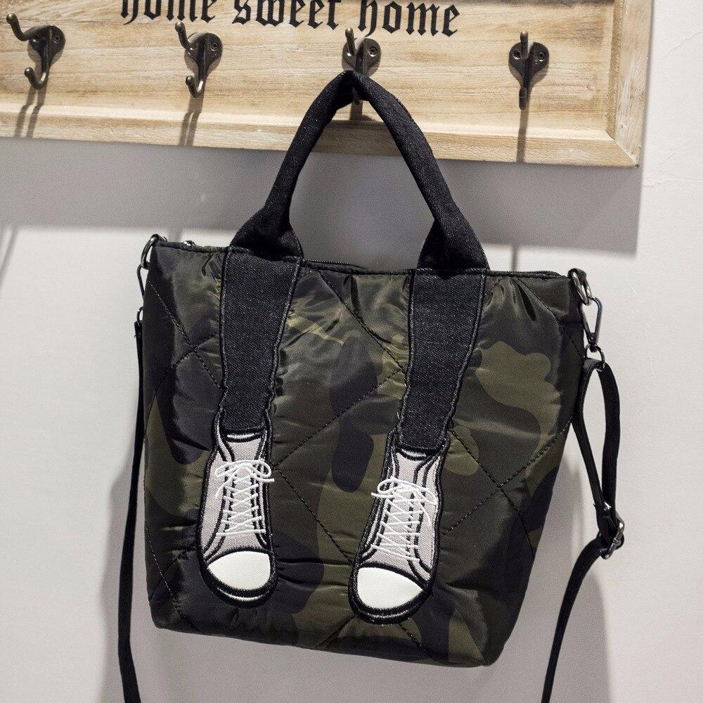 Модные камуфляжные Для женщин Оксфорд сумки обувь принт Повседневное леди вниз сумки на ремне Женский тотализатор Bolsa Crossbody сумка