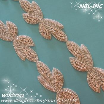 (10 YARDS )Wholesale beaded bridal rhinestone iron on bow trim applique for wedding dress sash IRON ON WDD0441