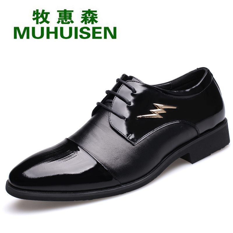 Muhuisen Genuine Leather Men`s Dress Shoes With Cheap Price Flat Heeled Men Leather Shoes Of Rubber Sole Men Dress Shoes