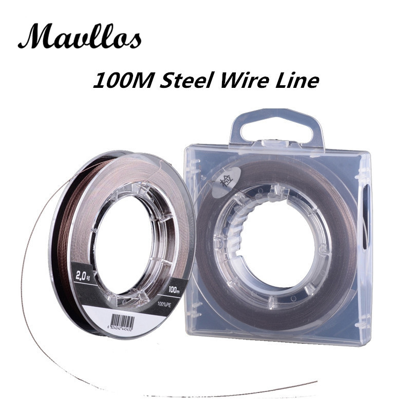 Mavllos Cored Wire Steel Inside Super Strong Multifilament Fishing Line 100m PE Braided Fishing Line 4