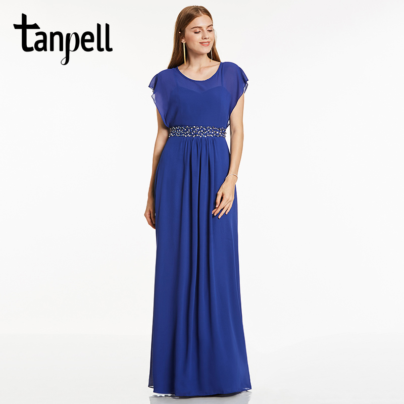 Tanpell scoop neck evening dress royal blue cap sleeves floor length a line gown cheap women