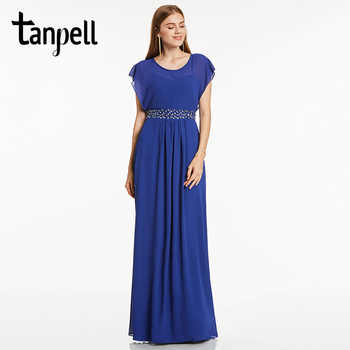 Tanpell scoop neck evening dress royal blue cap sleeves floor length a line gown cheap women beaded prom long evening dresses - DISCOUNT ITEM  46% OFF All Category