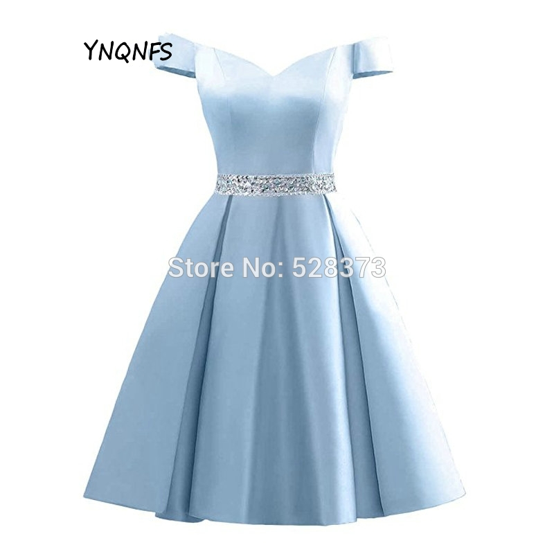 YNQNFS CD56 Real Girls Short Prom Dress Off Shoulder Sky Blue Party Dress Short Bridesmaid Dresses 2019