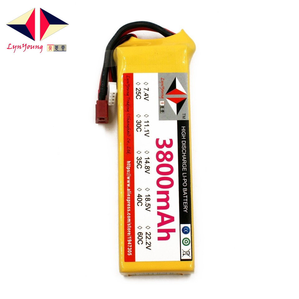 LYNYOUNG rc lipo 3S font b battery b font 11 1V 35C 3800mAh for plane Helicopter